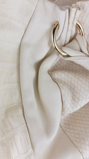 Furla Beige Handbag with Smooth, Snake and Croco Leather
