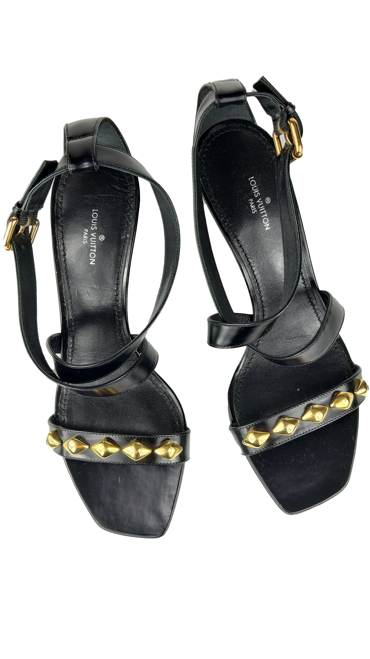 Louis Vuitton Black Sandals with Golden Details Size 38,5 (EU)