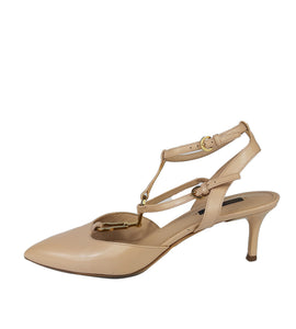 Louis Vuitton Nude Pointed Sandals with Golden LV Details Size 39,5 (EU)
