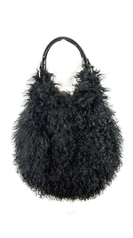 100% Tibet Lambswool Black Handbag