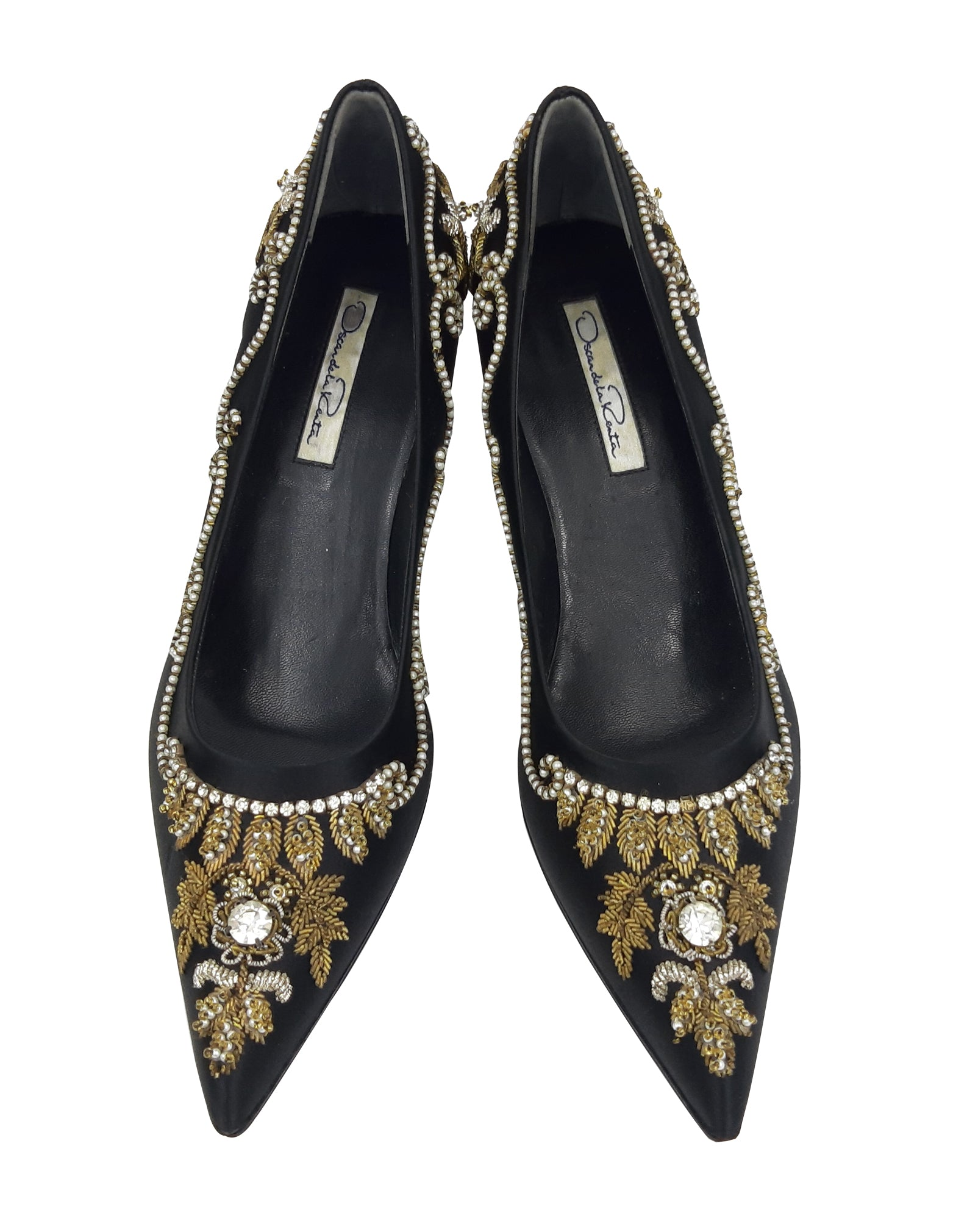 Oscar de La Renta Black Heeled Shoes with Rhinestones and Beads Details  Size 37 (EU)