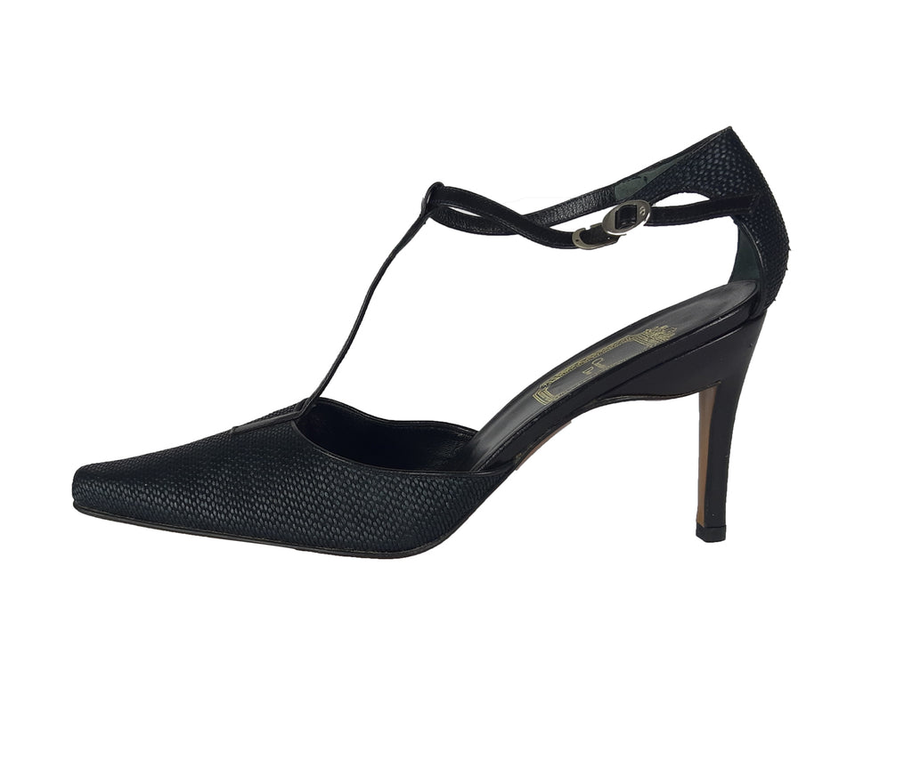Christian Dior Black T- Bar Pointed Toe Heeled Shoes Size 37 (EU)