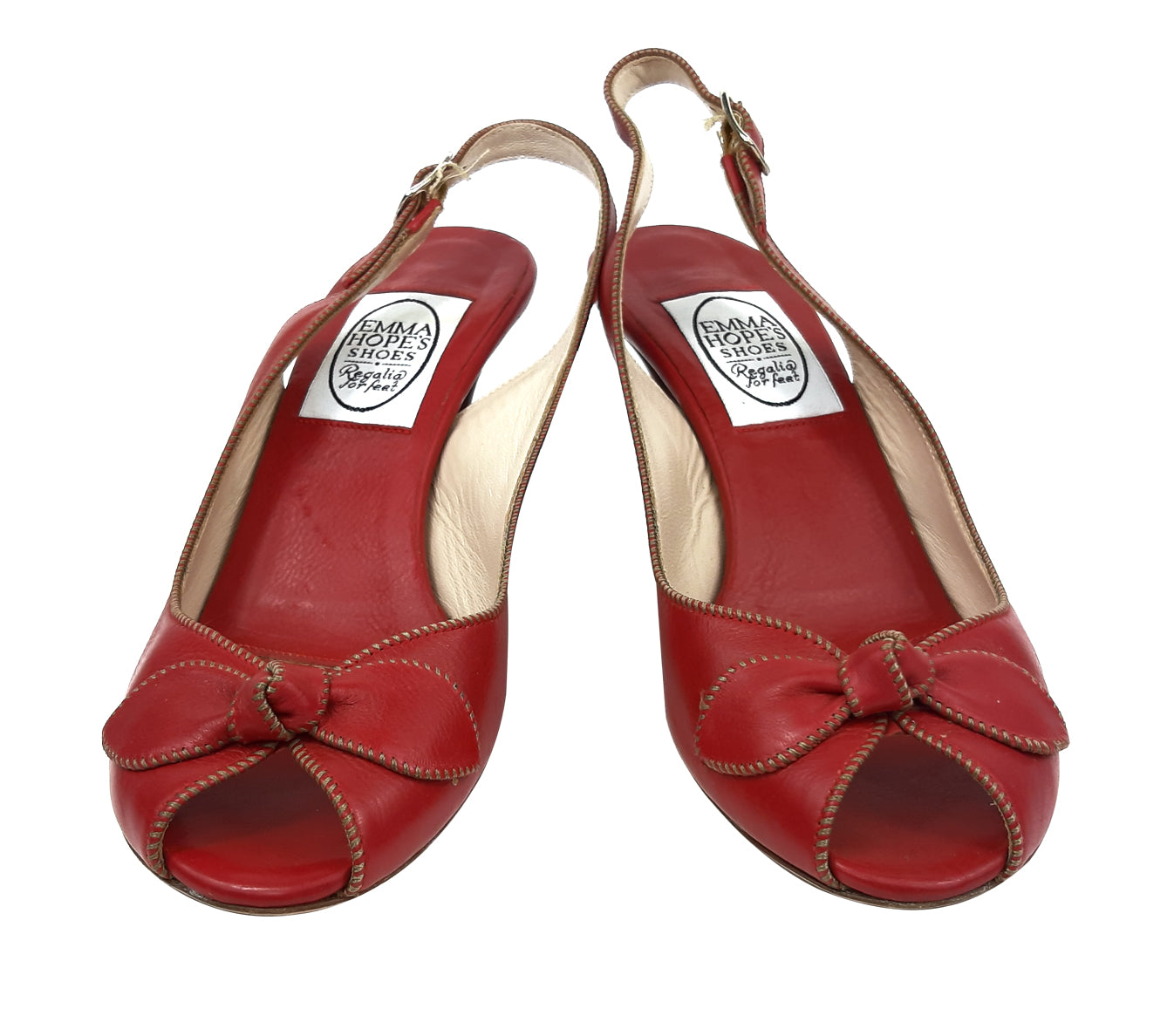 Emma Hopes Leather Red Shoes with Bow Detail Size 37,5 (EU)