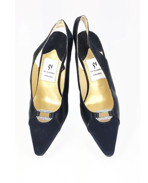 Di Sandro Slingback Black Satin Shoes Size 37 (EU)