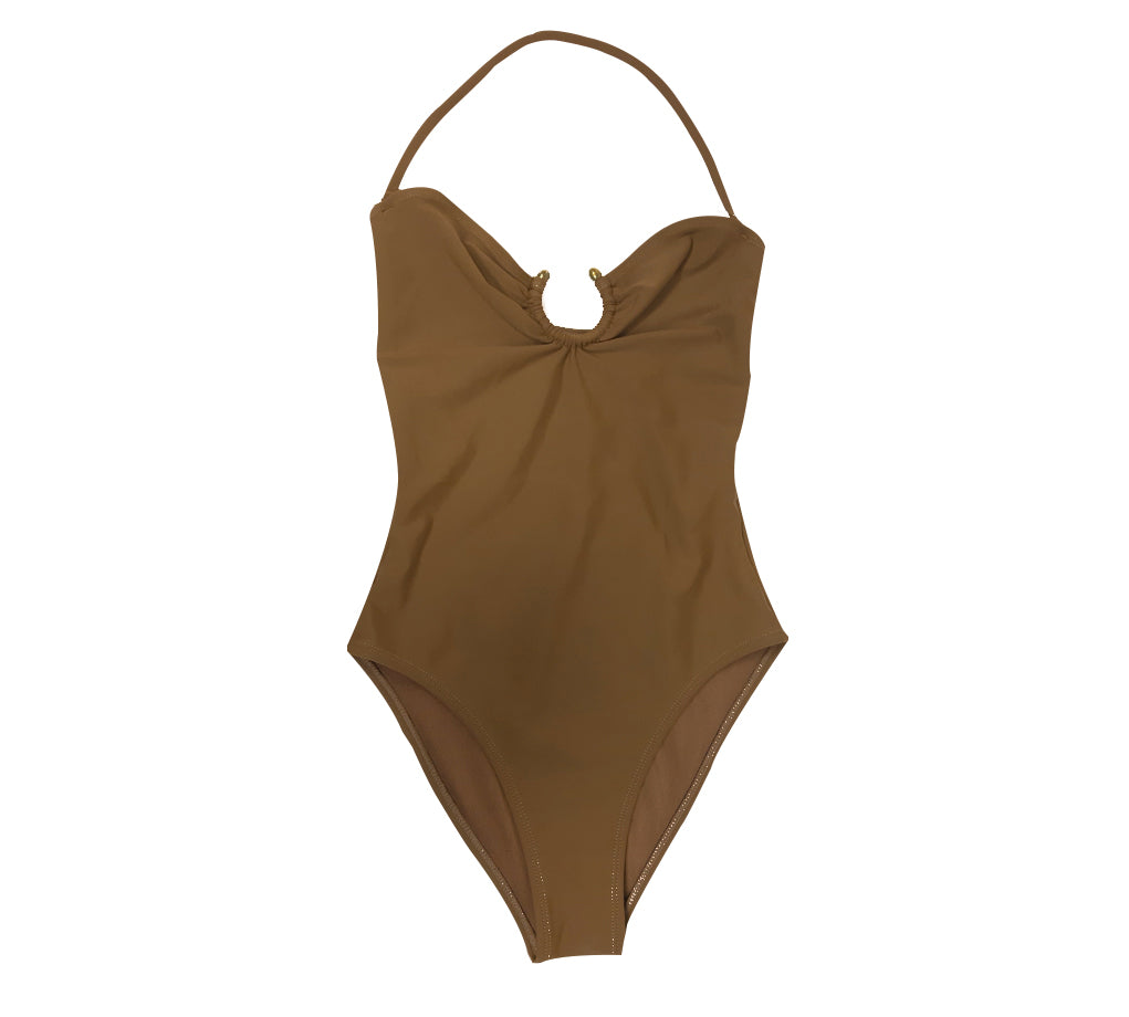 Khaki Swimsuit With Hoop and Removable Strap Fits Size S