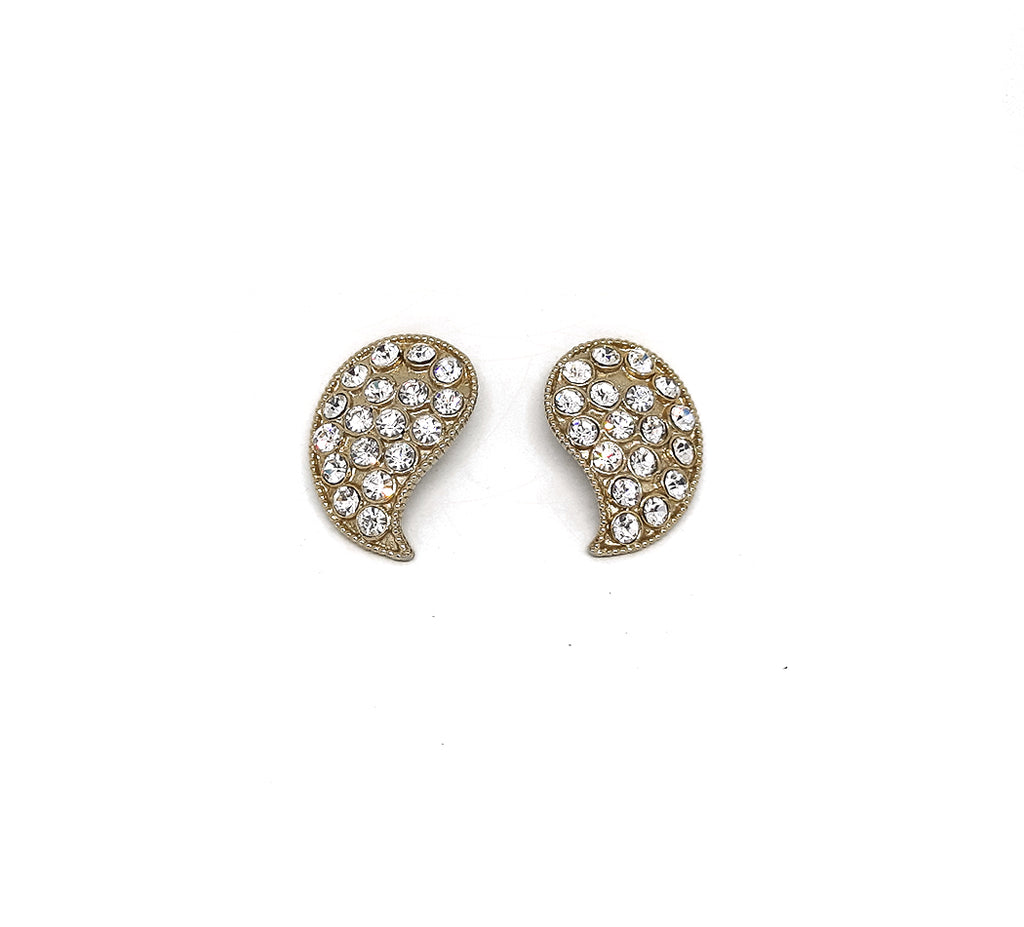 Pave Rhinestone Gold Tone Vintage Clip Earrings