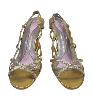 Anya Hindmarch Golden Sandals with Bow Design Size 37,5 (EU)