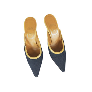 Christian Dior Mules in Denim and Leather Size 37,5 (EU)