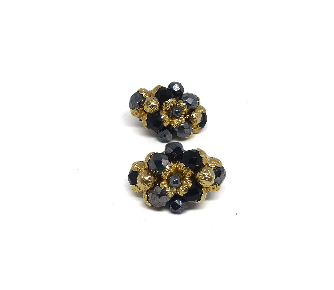 Oval Vintage Clip Earrings with Faceted Black Stones