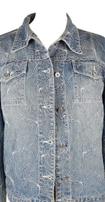 Byblos Denim Jacket with Embroidered Flowers Size 42 (EU)