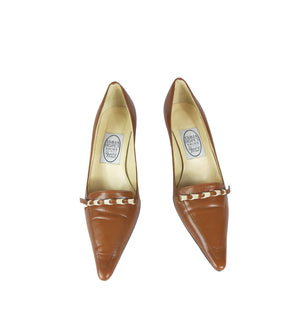 Emma Hopes Leather Brown Mid Heel Shoes Size 37 (EU)