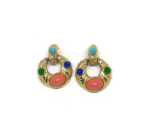 Statement Vintage Clip Earrings  with Big Gold Jewelled Cabochon in Pink, Green and Blue