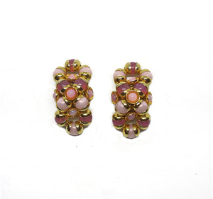 Vintage Gold and Pink Oval Clip Earrings