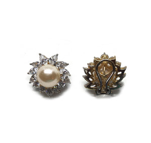 Vintage Clip Earrings with Shiny Pearls and Rhinestone Petals