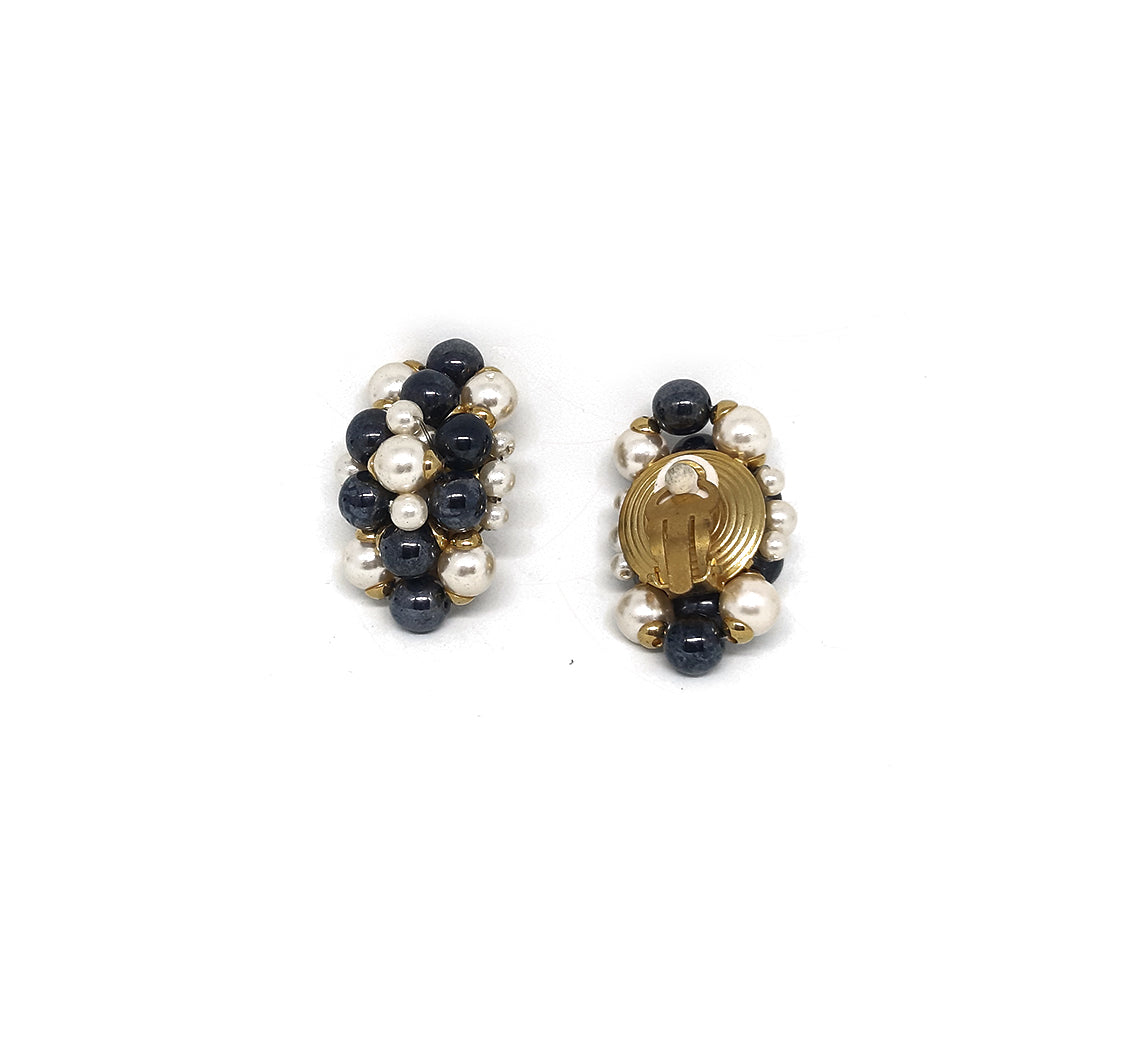 Oval Vintage Clip Earrings in White and Black  Pearls