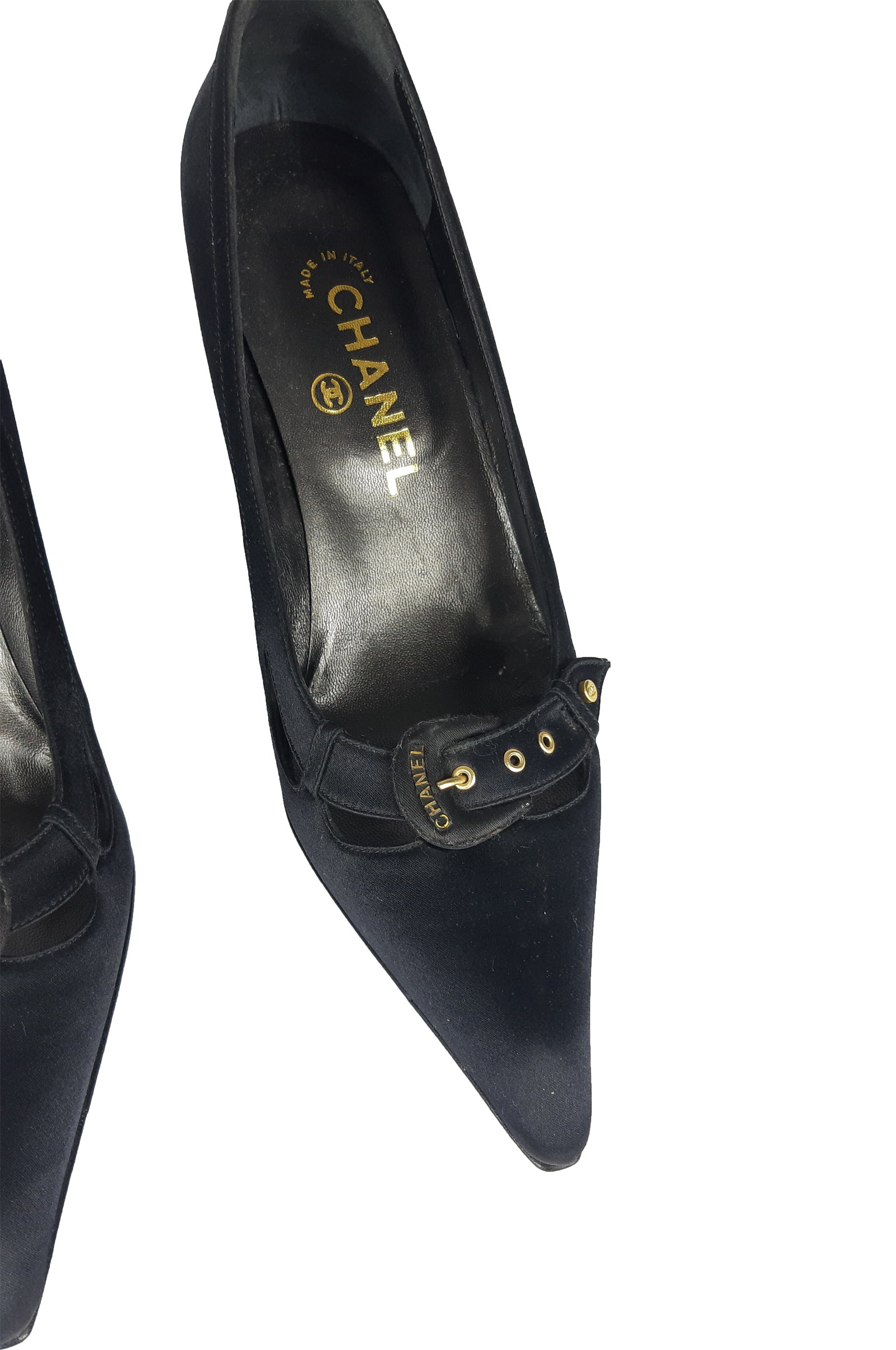 Chanel Black Stiletto with Satin Look and Buckle Detail Size 37 (EU)