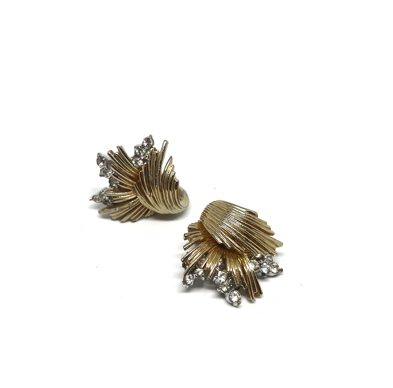 Vintage Goldtone Line Textured Clip Earrings with Small Rhinestones