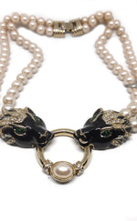Black Panther Faux Pearl Vintage Necklace with Green Stones