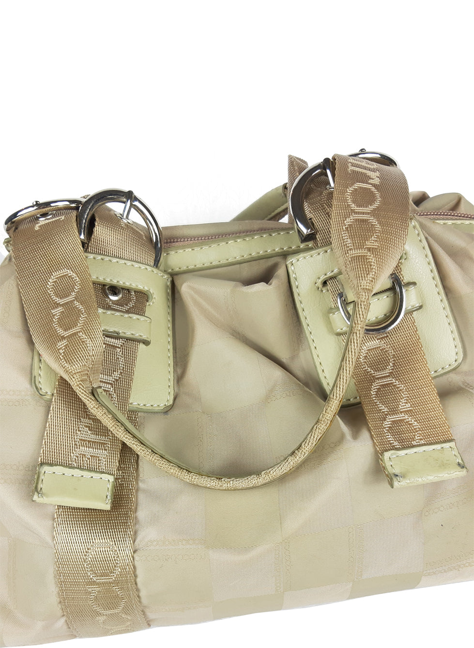 Roccobarocco Beige Handbag in Monogram Cloth
