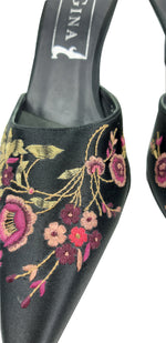 Gina Embroidered Flowered Black Mules Size 37,5 (EU)