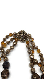 Brown, Orange and Bronze Faceted Stones Vintage Necklace