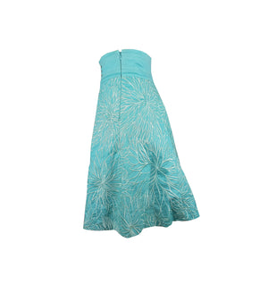 Karen Millen Light Blue High Waisted Skirt with Embroidered Flowers in White Size 34 (EU)