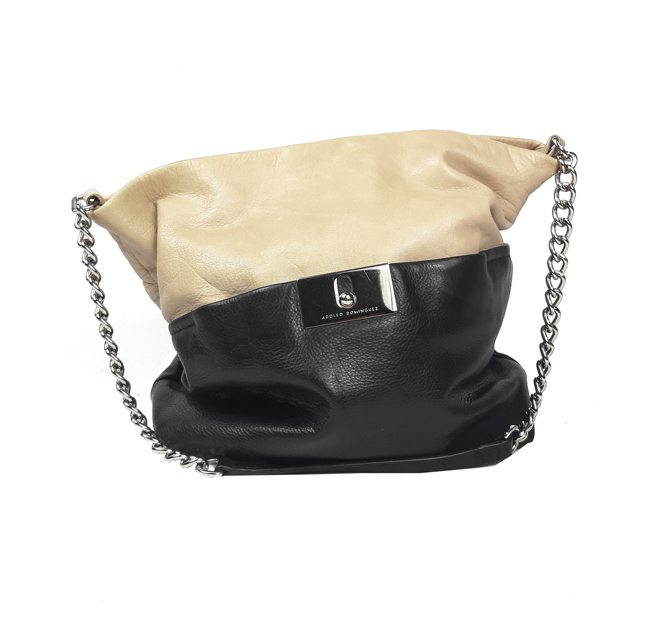 ADOLFO DOMINGUEZ Color Block (Black/Beige) Sack Bag with Silver Hardware