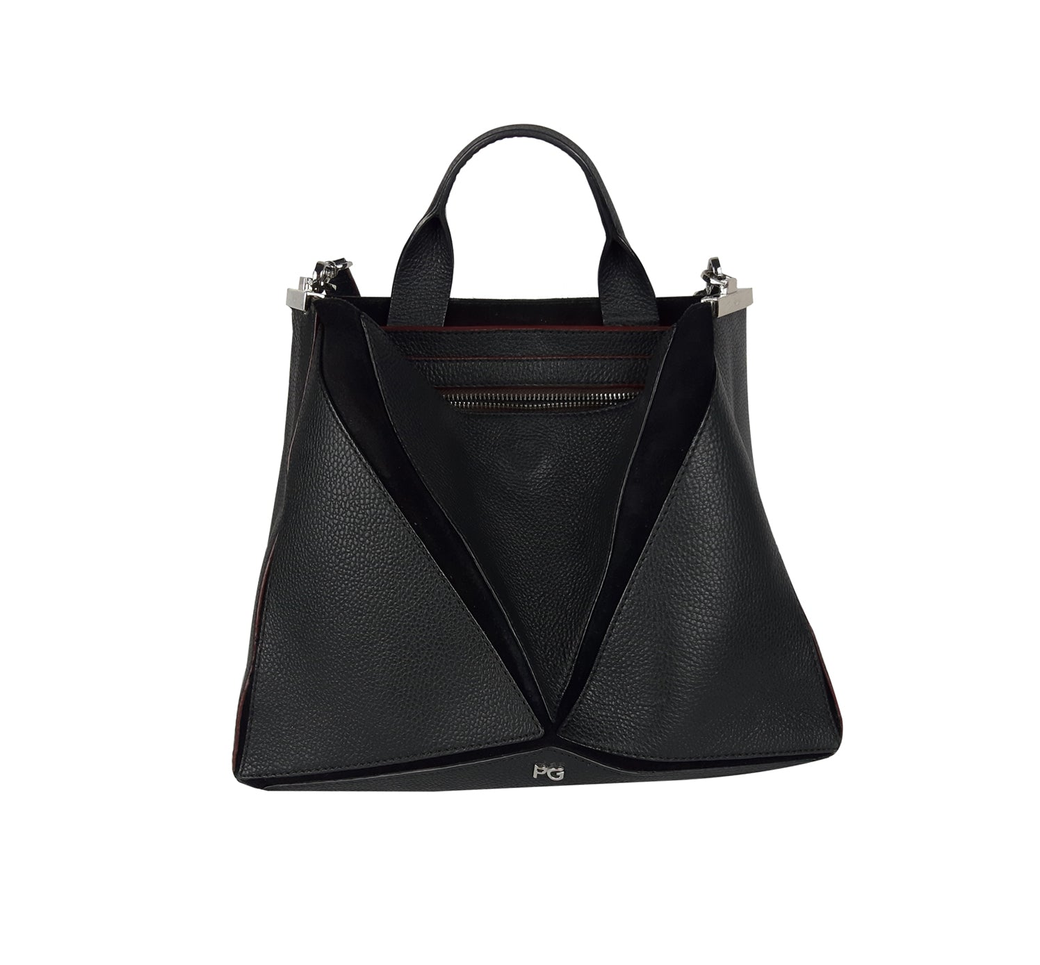 Purificacíon García Black Leather and Suede Tote Bag with Two Divisions Inside and Golden Details