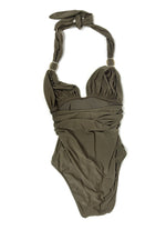 Lenny Swimsuit in Kakhi Green with Embelished straps in Size S