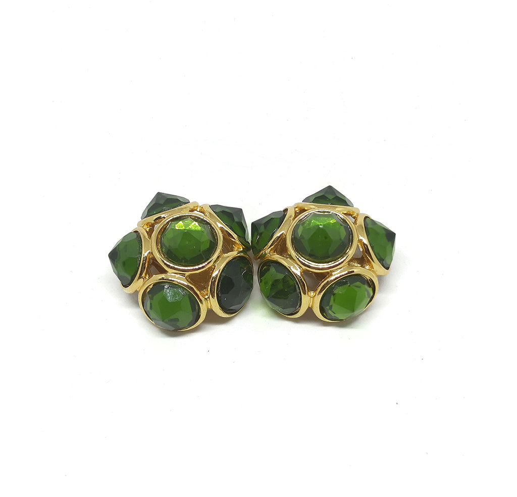 Yves Saint Laurent Signed Vintage Clip Earrings in Gilt Metal and Green Stones
