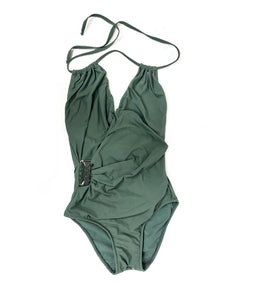Lenny Swimsuit in Khaki Green with Green Bead Embelishment in Size S