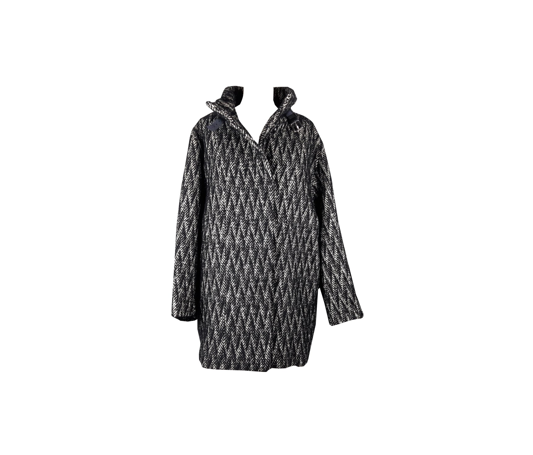 Gerard Darel Alpaca and Mohair Herringbone Coat Size 46 (EU)