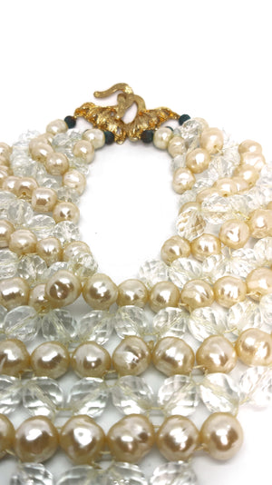 Vintage Necklace with Faceted Clear Lucite Beads and Faux Pearls with Golden Casp