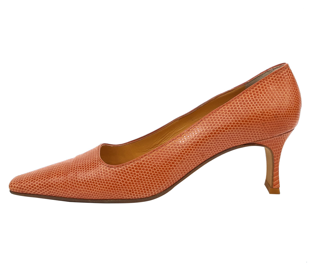 René Mancini Vintage Mid Heeled Shoes in Brick Colour Size 37 (EU)