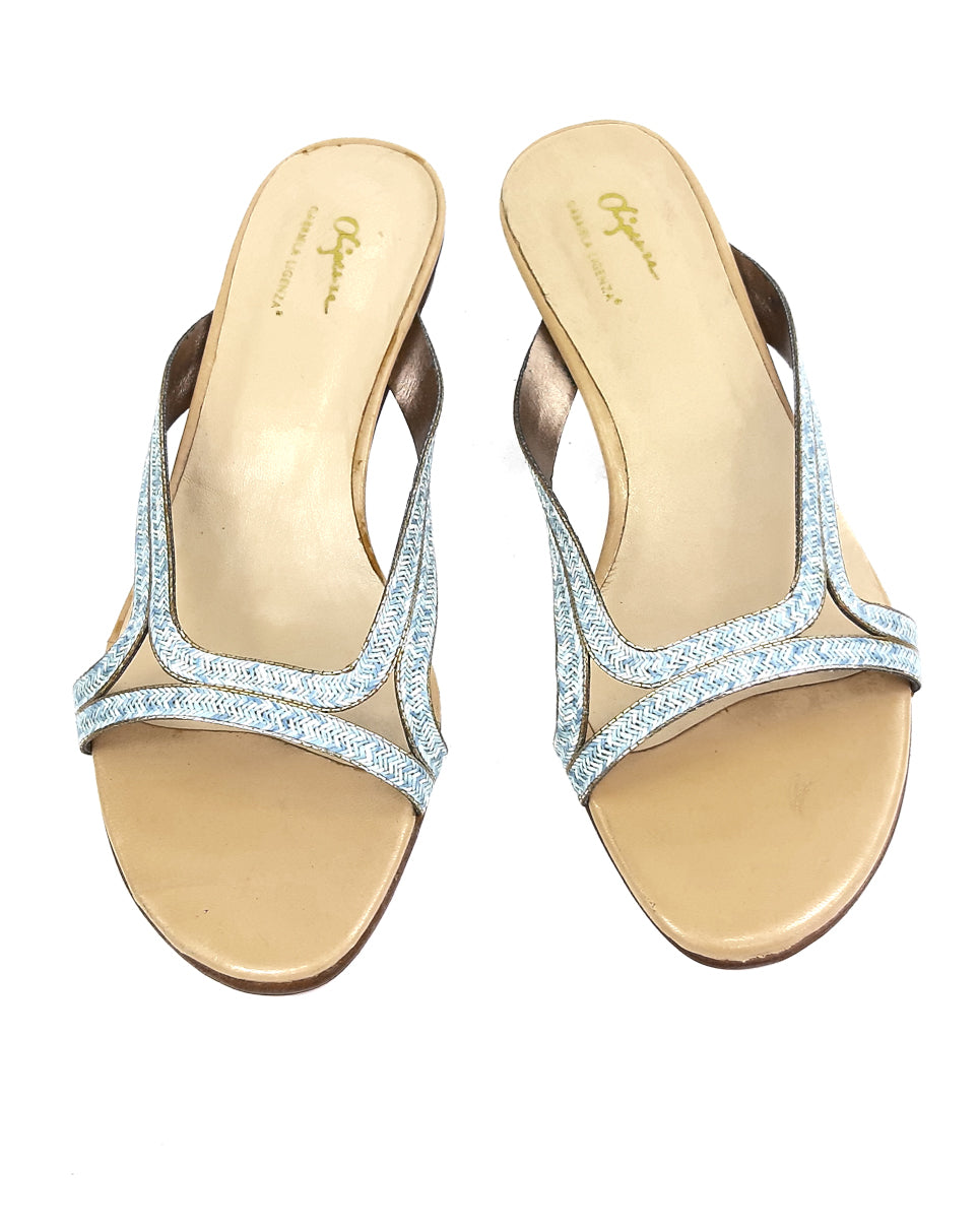 Gabriela Ligenza Blue and Golden Mules Size 37 (EU)