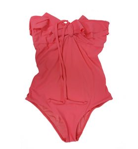 Bright Pink Swimsuit With Frills and Neck Strap Fits Size S