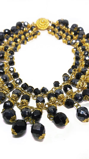 Egyptian Vintage Necklace with Faceted Black Stones and Golden Chain
