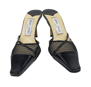 Jimmy Choo Black Leather Mules with Grid Detail Size 37 (EU)