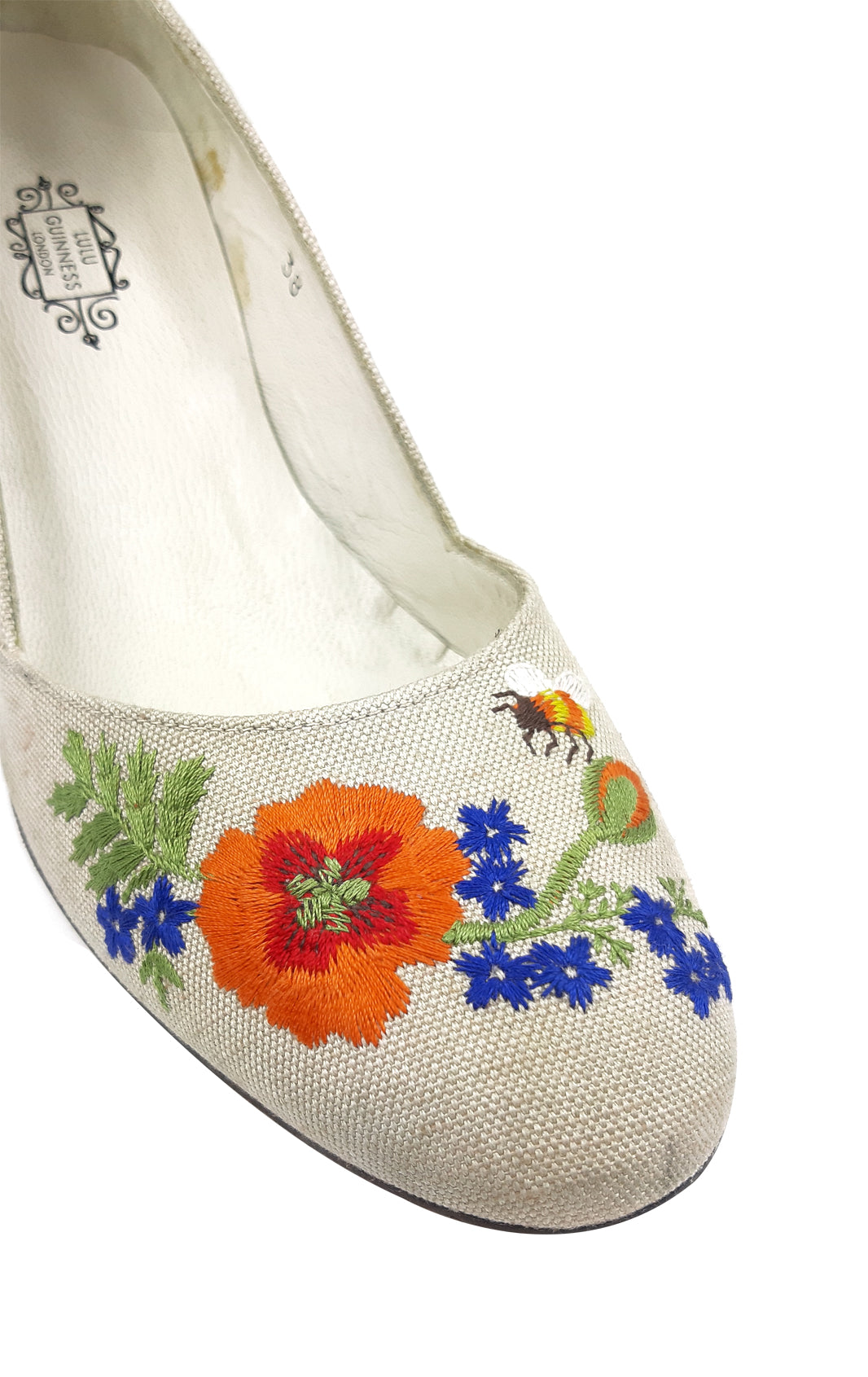 Lulu Guiness Beige Platform Cloth Shoes with Embroidered Flowers Size 38 (EU)