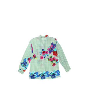 Rosa Chá Silk Green Flowered Blouse with Transparency
