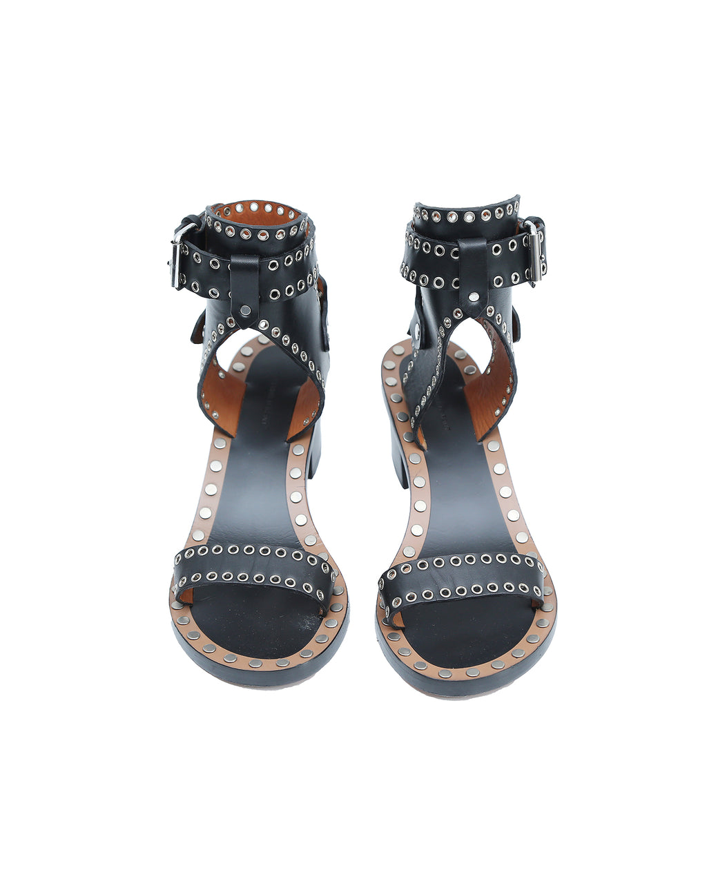 Isabel Marant Jaeryn Black Leather Studded Sandals Size 38 (EU)