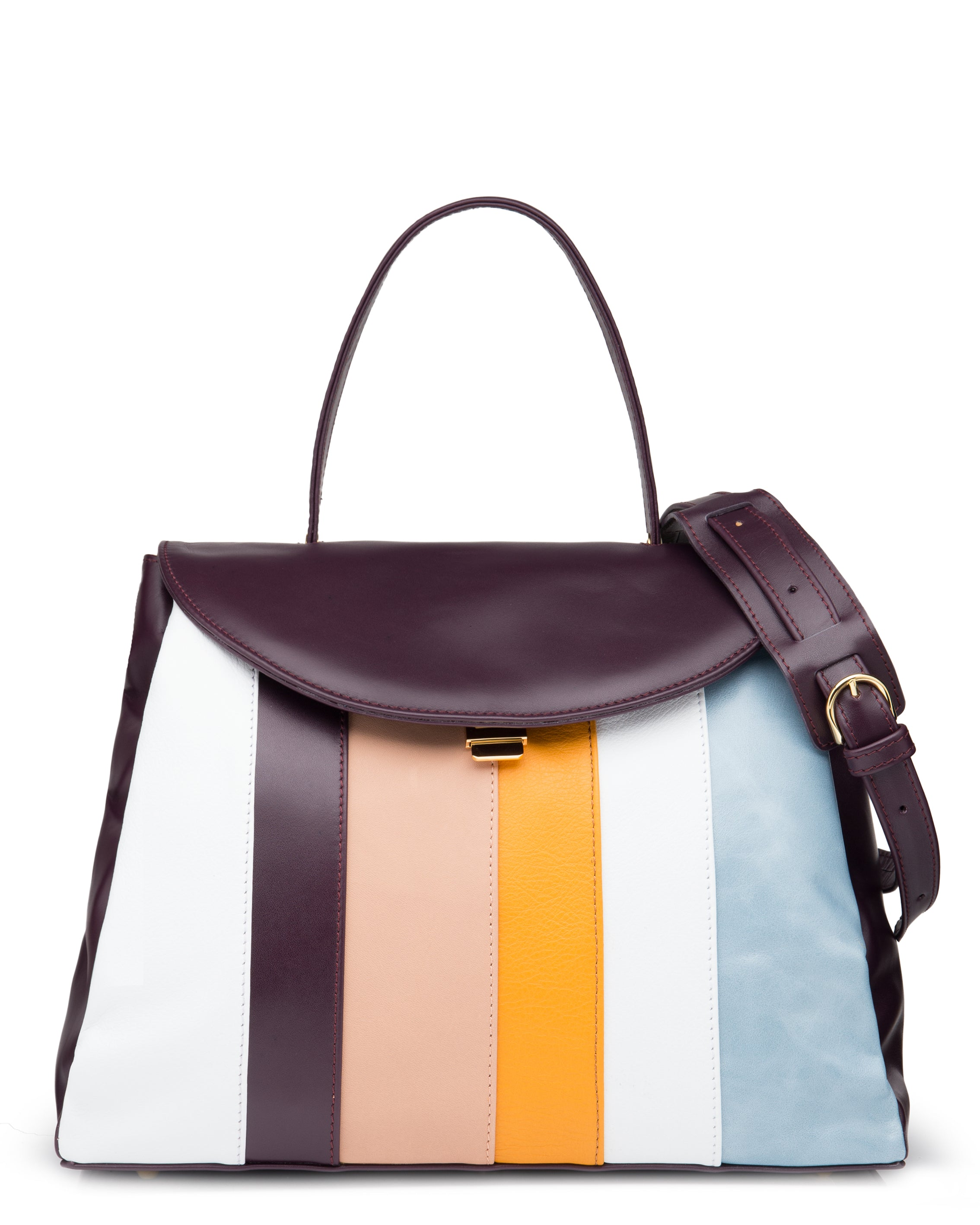 MANJERICA BEGONIA STRIPES Tote Bag in Leather