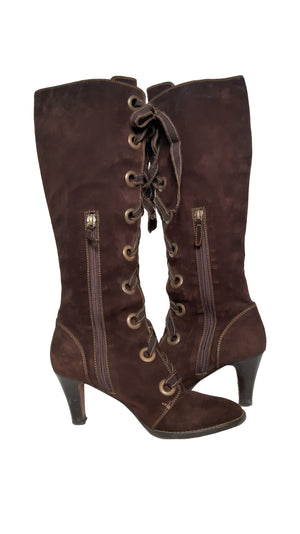 Moschino Cheap and Chic Lace Up Heeled Boots in Brown Size 37 (EU)