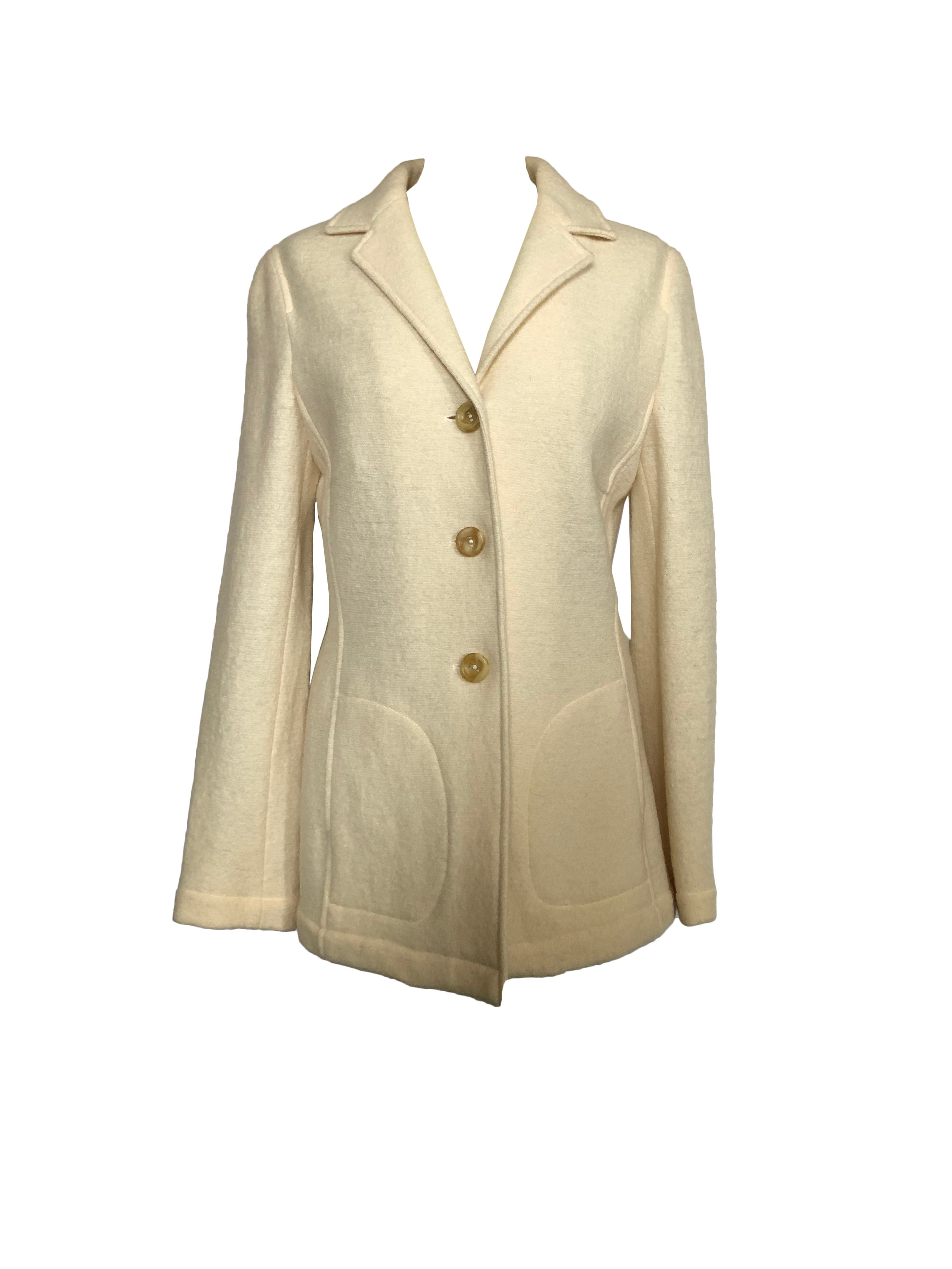 Georges Rech 100% Wool Coat in White Size 40 (EU)