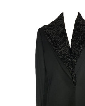 Versace Black Jacket With Removable Fur Collar Size 42 (EU)