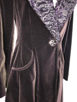 Georges Rech Velvet Coat with Fur Collar in Plum Size 40 (EU)