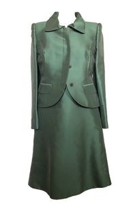 Bruce Oldfield Coat and Dress Silk Set in Blue Fits M
