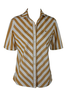 Burberry Diagonal Stripes Shirt in White and Beige Size 40 (EU)