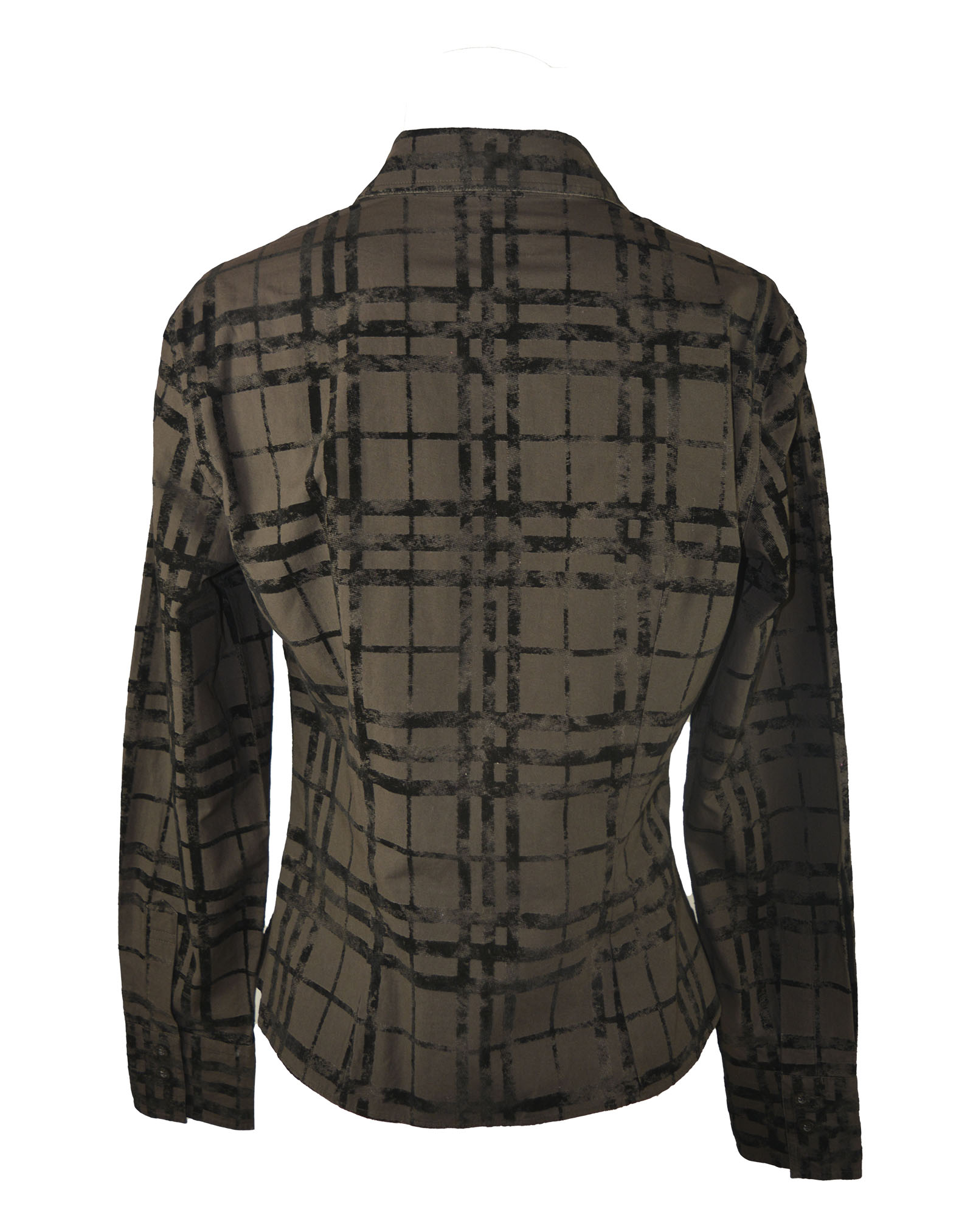 Burberry Brown Check Pattern Shirt with Velvet Details Size 40 (EU)