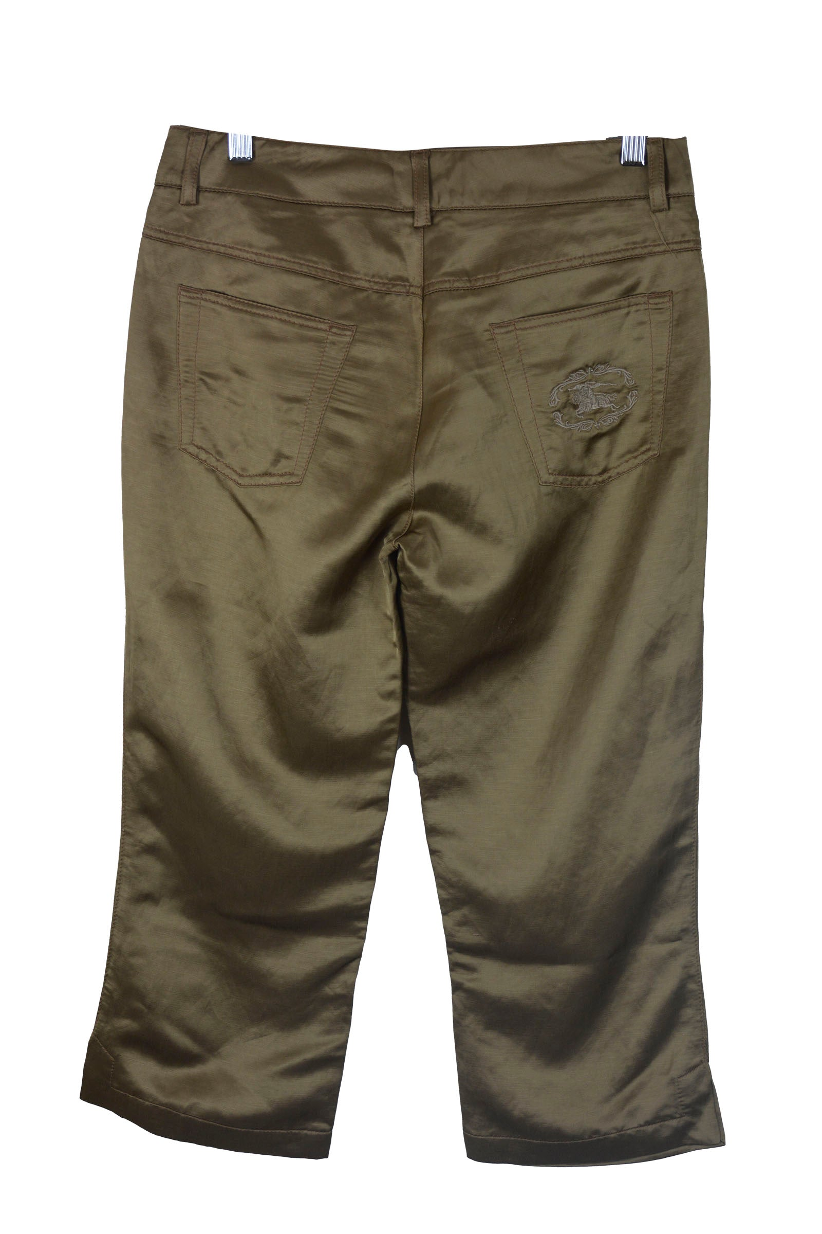 Burberry Bright Satin Look  Brown Ankle Trousers Size 40 (EU)